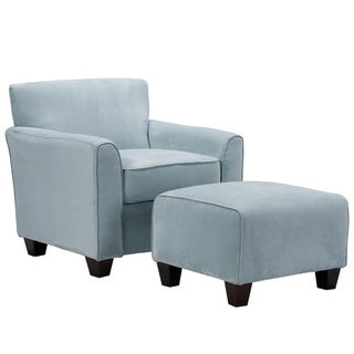 Portfolio Park Avenue Sky Blue Hand-tied Accent Chair and Ottoman