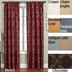 Renzo Chain Stitch Faux Silk 96-inch Curtain Panel