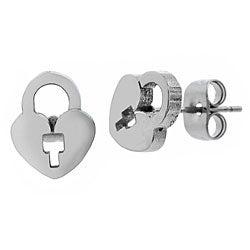 Surgical Steel Heart Lock Earrings