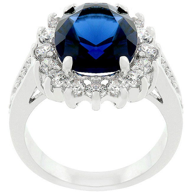 Kate Bissett Silvertone Classic Blue Bridal-inspired Ring
