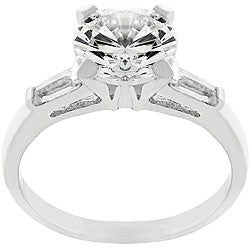 Kate Bissett Silvertone Round and Baguette CZ Ring