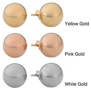 Fremada 14k Gold 6 mm Ball Earrings (White, Pink, or Yellow)