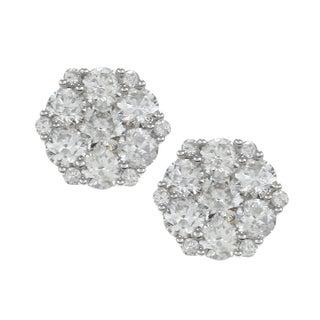 Eloquence 14k White Gold 2ct TDW Diamond Blossom Earrings (G-H, I1)