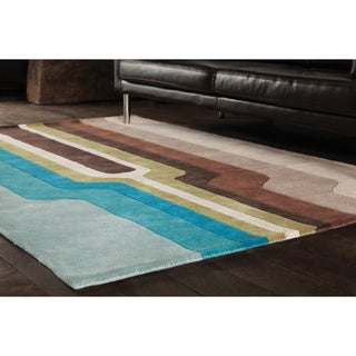 "Abstract Geometric-Pattern Hand-Tufted Rojan Wool Rug (7'9"" x 10'6"")"