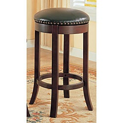 Dark Cherry Finish Swivel Barstools (Set of 2)