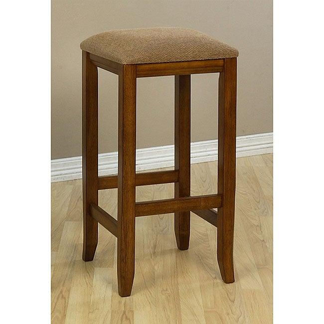 Upholstered 29-Inch Mission-Style Oak Barstools (Set of 2)