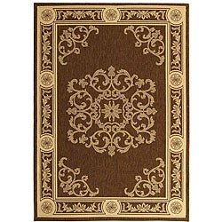 Safavieh Indoor/ Outdoor Sunny Chocolate/ Natural Rug (2' x 3'7)
