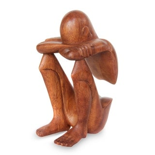 'Abstract Rest' Wood Statuette (Indonesia)