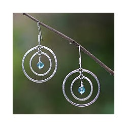 Sterling Silver 'Blue Halo' Earrings (Indonesia)