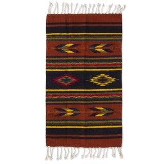 Mexican 'Swift Arrows' Wool Rug (2' x 3')