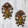 Iron and Ceramic 'Maya Masks' Wall Adornment Pair (Mexico)