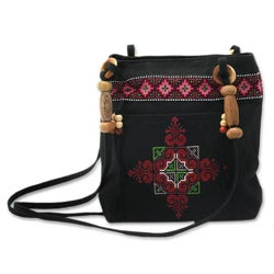 Cotton 'Mountain Signals' Shoulder Bag (Thailand)