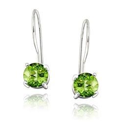 Glitzy Rocks Sterling Silver Euro Wire Peridot Earrings