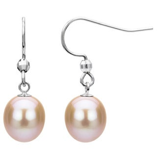 Sterling Silver Pink Freshwater Pearl Earrings (10-11 mm)