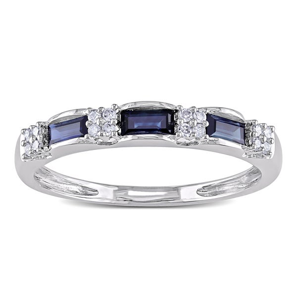Miadora 10k White Gold Sapphire and 1/10ct TDW Diamond Ring (H-I, I1-I2)