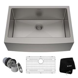 Kraus 30-inch Farmhouse Apron Single Bowl Steel Kitchen Sink