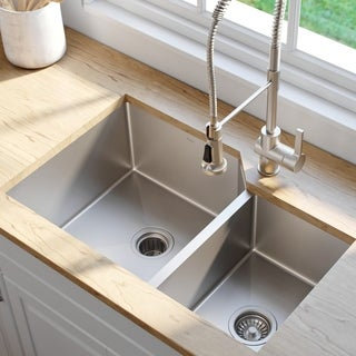 Kraus 32-inchUndermount 60/40 Double Bowl Steel Kitchen Sink