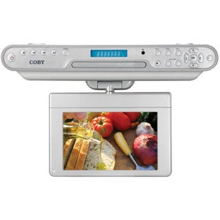 """Coby Ktfdvd7093 7"""" Under-cabinet Lcd With Dvd Player & Radio"""