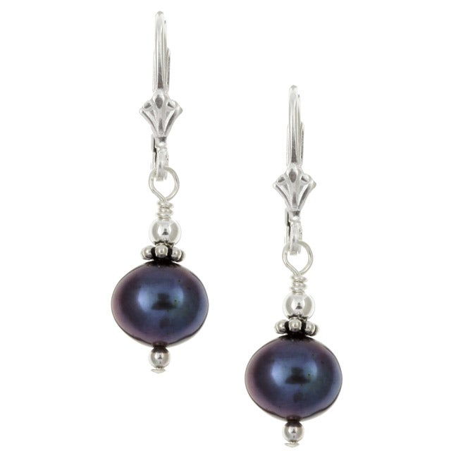 Charming Life Sterling Silver Peacock Freshwater Pearl Earrings (7-8 mm)