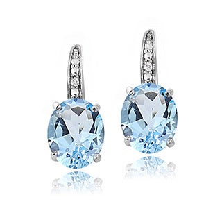 Glitzy Rocks Sterling Silver 6.4 CTW Gemstone and Diamond Accent Leverback Earrings