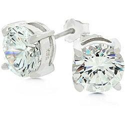 Kate Bissett White Gold Bonded Sterling Silver Stud CZ Earrings