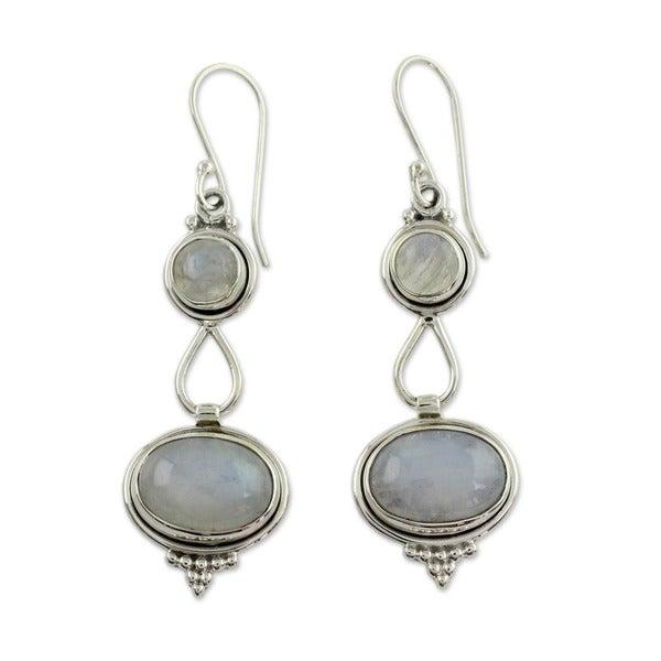 Sterling Silver 'Goddesses' Moonstone Earrings (India)