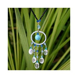 Stainless Steel 'Azure Dreamcatcher' Turquoise Necklace (Thailand)