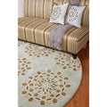 Hand-tufted Contemporary Moss Green Circles Namur New Zealand Wool Abstract Rug (8' Round)