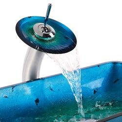 Kraus Galaxy Fire Blue Rectangular Sink/ Waterfall Faucet