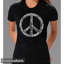 Los Angeles Pop Art Women's 77-language Peace Symbol Tee