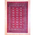 Pakistani Hand-knotted Red/ Black Bokhara Rug (4' x 6')