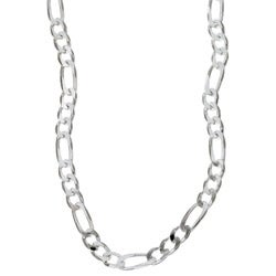 Sterling Essentials Sterling Silver 22-inch Diamond-Cut Figaro Chain (4mm)