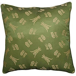 'Chinese Symbol Of Long Life' Green Cushion Cover