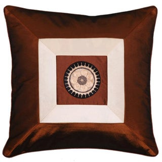 Brown and Beige Silky Squares Cushion Cover