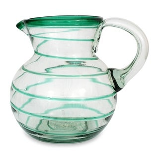 'Emerald Spiral' Glass Pitcher (Mexico)