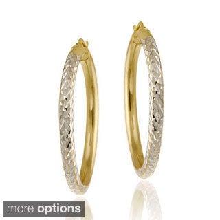 Mondevio 18k Gold over Sterling Silver Diamond-cut Hoop Earrings