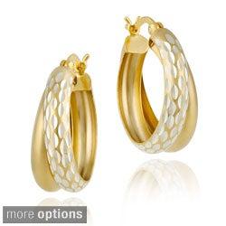 Mondevio 22k Gold/ Silver Double Hoop Diamond-cut Earrings