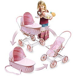 Pink Gingham Doll Toy Pram, Carrier and Stroller
