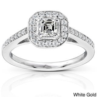 Annello 14k Gold 1/2ct TDW Asscher Diamond Halo Ring (H-I, SI1) with Bonus Item
