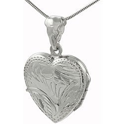 Journee Collection  Sterling Silver Etched Heart Locket Necklace