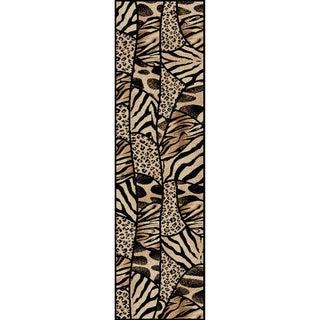 Virginia Animal Print Black/ Beige Olefin Rug (2'2 x 7'7)