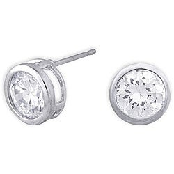 Simon Frank 14k White Gold Overlay CZ Solitaire Earrings