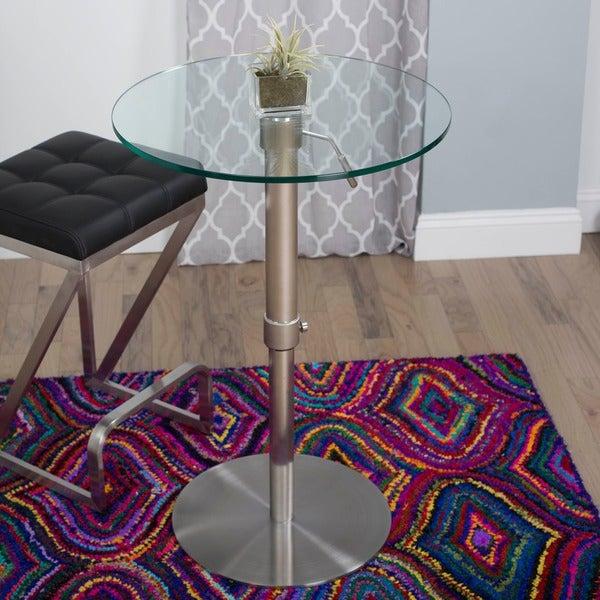 Krib Round Glass Adjustable Height Pub Table