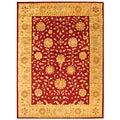 Safavieh Handmade Heritage Kashan Burgundy/ Beige Wool Rug (5' x 8')