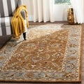 Handmade Heritage Shahi Brown/ Blue Wool Rug (7&#39;6 x 9&#39;6)