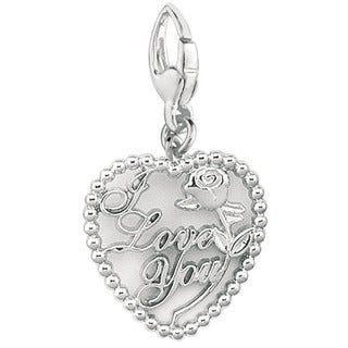 Sterling Silver 'I Love You' with Rose in Heart Charm