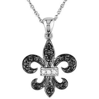 10k Gold 1/8ct Black and White Diamond Fleur De Lis Necklace