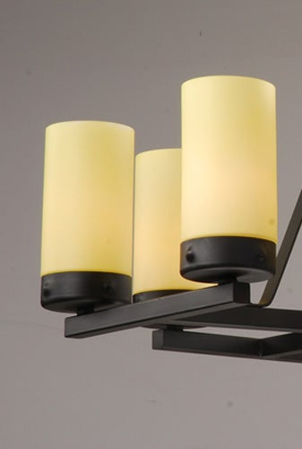 Black 8-light Iron Linear Chandelier