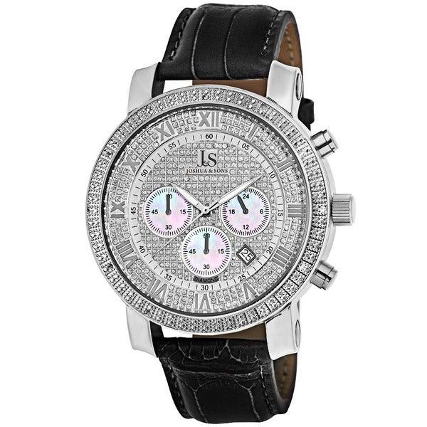 Joshua & Sons Men's Diamond Chronograph Leather-Strap Watch
