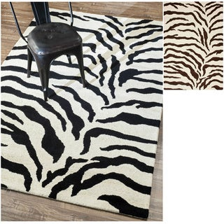 nuLOOM Handmade Animal Zebra Pattern Wool Rug (7'6 x 9'6)